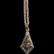 "SALE Vintage 14K Yellow Gold Diamond Pendant Chain Link Necklace 16"""