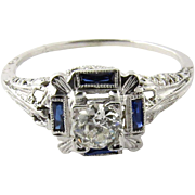 Antique Edwardian 14K Gold Filigree Diamond and Sapphire Ring Size 9.25