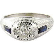 Vintage Art Deco 18K White Gold Old Mine Diamond and Sapphire Ring Size 7.25