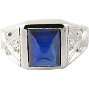 Vintage 18K White Gold Art Deco Sapphire Diamond Ring Size 7