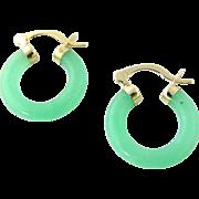 Vintage 14K Yellow Gold Jade Hoop Earrings