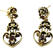 Victorian 14K Yellow Gold and Garnet Dangle Earrings