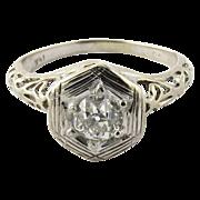 Art Deco 14K White Gold Diamond Ring Size 5.5