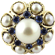 Vintage 14K Yellow Gold Cultured Pearl and Synthetic Sapphire Dome Ring Size 5.5