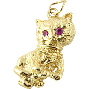 Vintage 14K Textured Yellow Gold Kitten with Ruby Eyes Pendant
