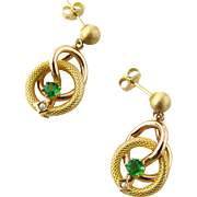 Vintage 14K Yellow and Rose Gold Emerald and Pearl Dangle Earrings