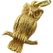 14K Textured Yellow Gold Vintage Owl Charm or Pendant