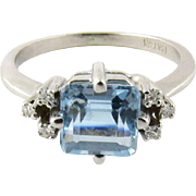 Vintage 14K White Gold Aquamarine and Diamond Ring Size 5.75