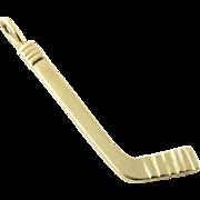 Vintage 14K Yellow Gold Hockey Stick Pendant