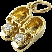 SALE Vintage 14K Yellow Gold Diamond Baby Shoes Charm