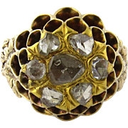 SALE Antique 14K Yellow Gold Rose Cut Diamond Beehive Ring Size 6.25