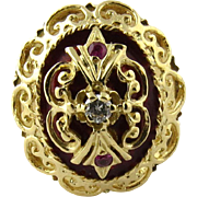 Vintage 18K Yellow Gold Ruby and Diamond Ring Size 6.75
