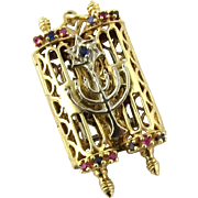 SALE Vintage 14K Yellow and White Gold Mezuzah Torah Scrolls with Rubies and Sapphires Pendant