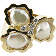 SALE Vintage 14K Yellow Gold Baroque Pearl and Diamond Ring Size 6.5