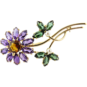 Vintage 14K Yellow Gold Tourmaline, Amethyst and Topaz Floral Brooch Pin
