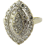 SALE Art Deco 14k Yellow and White Gold and Diamond Ring Size 6.75