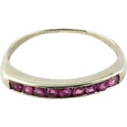 Vintage 14k White Gold Genuine Red Ruby Ring Band Size 6.75