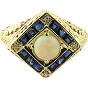Vintage 14K Yellow Gold Sapphire, Diamond and Opal ring Size 7