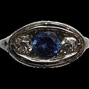 IGI Certified Vintage Platinum Diamond and Sapphire Ring Size 6