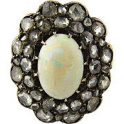 Antique Victorian Opal and Rose Cut Diamond 14k Yellow Gold Ring Size 5
