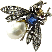Antique Victorian 14K Yellow Gold Sapphire, Diamond and Baroque Pearl Bee Brooch Pin