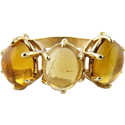 Vintage 14K Yellow Gold Citrine 3 Stone Ring Size 8.5