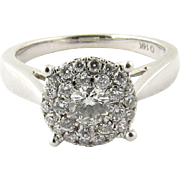 Vintage 14K White Gold Diamond Circular Cluster Ring Size 6.75