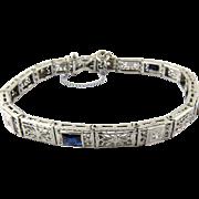Art Deco 14K White Gold Diamond and Sapphire Filigree Bracelet