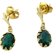 Vintage 10K Yellow Gold Synthetic Emerald Earring Dangle Earrings
