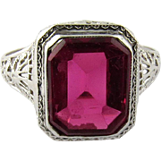 Vintage 14K White Gold and Synthetic Ruby Ring Size 6.25