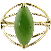 Vintage 14K Yellow Gold and Jade Ring Size 7.75
