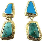 Vintage 18K Yellow Gold and Turquoise Drop Earrings Clip On