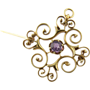 Vintage 14K Yellow Gold and Genuine Amethyst Brooch / Pendant