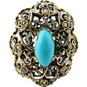SALE Antique 18K White and Yellow Gold Turquoise Diamond Ring Size 7.5
