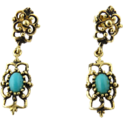 Vintage Oxidized 14K Yellow Gold and Turquoise Drop Earrings