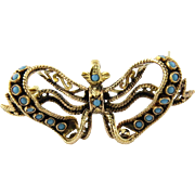 Antique Victorian 18K Yellow Gold and Turquoise Ribbon Butterfly Brooch