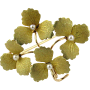 Vintage 14K Yellow Gold and Seed Pearl 3 Petal Flower Brooch