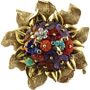 SALE Vintage 14K Yellow Gold Multi Gem Flower Brooch Pin