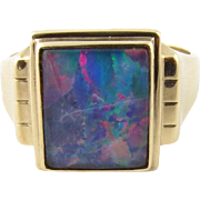 Vintage 14K Yellow Gold Genuine Doublet Opal Ring Size 10.25