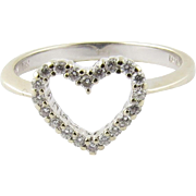 Vintage 18K Yellow and White Gold Diamond Heart Ring Size 7