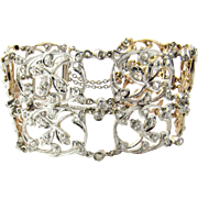 SALE Delicate Victorian Antique Design Platinum 18K Rose Gold Diamond Bracelet Floral Motif