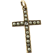 Antique 10K Yellow Gold Seed Pearl and Diamond Cross Pendant
