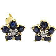 Vintage 14K Yellow Gold Sapphire and Diamond Floral Stud Earrings