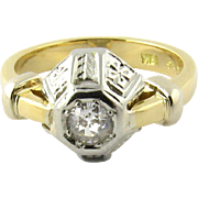 Vintage Art Deco 18K Yellow and White Gold Diamond Ring Size 5.5