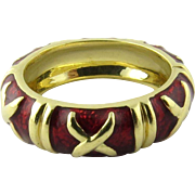 SALE Vintage 18K Yellow Gold and Red Enamel X Band Ring Size 5.5