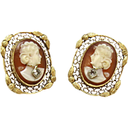 SALE Vintage 14K Yellow Gold and Diamond Cameo Filagree Earrings
