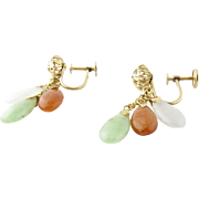 Vintage 14K Yellow Gold and Jade Dangle Earrings