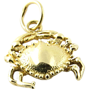 Vintage 14K Yellow Gold Crab Charm