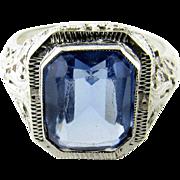 Vintage 14K White Gold Blue Synthetic Topaz Ring Size 6