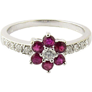 Vintage 18K White Gold Diamond and Genuine Ruby Flower Ring Size 6.5